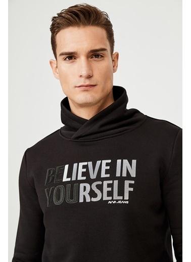 Avva Erkek  Şal Yaka Baskılı Sweatshirt A02Y1082 Siyah